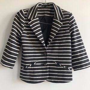 Express Gray & Off-white Striped Crop Blazer XS
